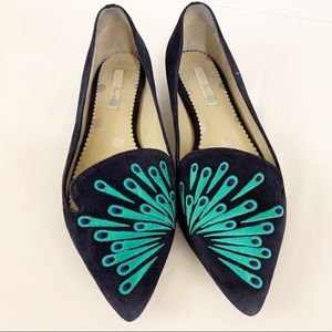 Boden Peacock Blue Loafer Flats Shoes Suede Sz 41